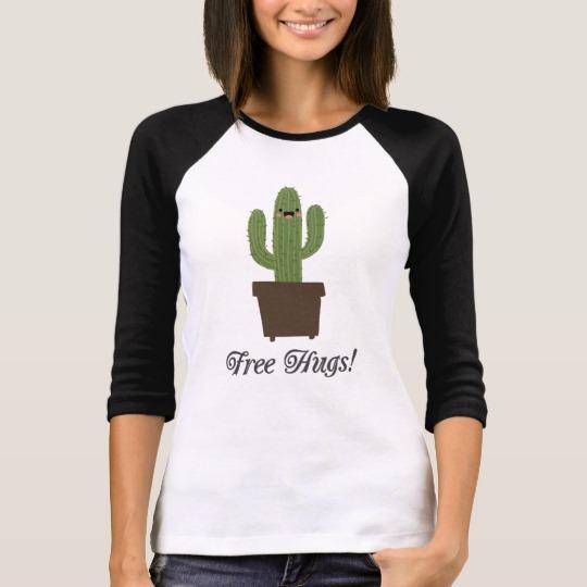 Cactus Offering Free Hugs Women's Bella+Canvas 3/4 Sleeve Raglan T-Shirt