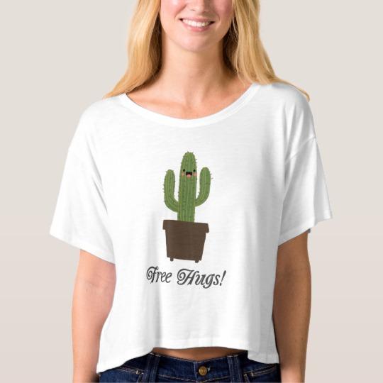 Cactus Offering Free Hugs Women's Bella+Canvas Boxy Crop Top T-Shirt