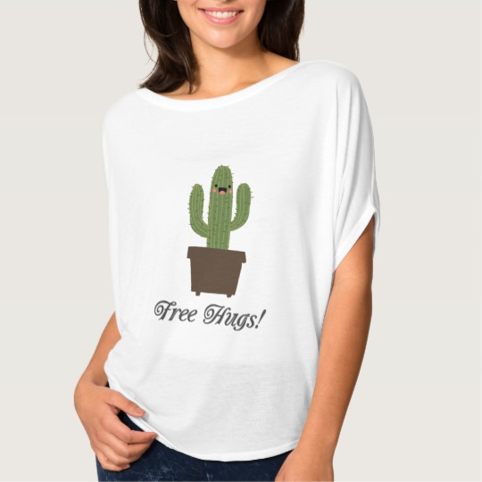 Cactus Offering Free Hugs Women's Bella+Canvas Flowy Circle Top