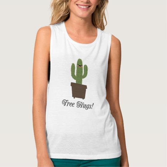Cactus Offering Free Hugs Women's Bella+Canvas Flowy Muscle Tank Top
