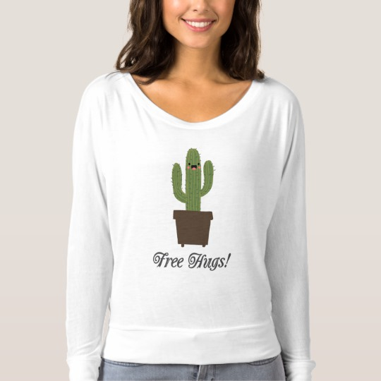 Cactus Offering Free Hugs Women's Bella+Canvas Flowy Off Shoulder Shirt