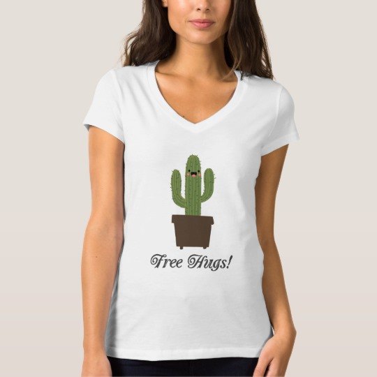 Cactus Offering Free Hugs Women's Bella+Canvas Jersey V-Neck T-Shirt