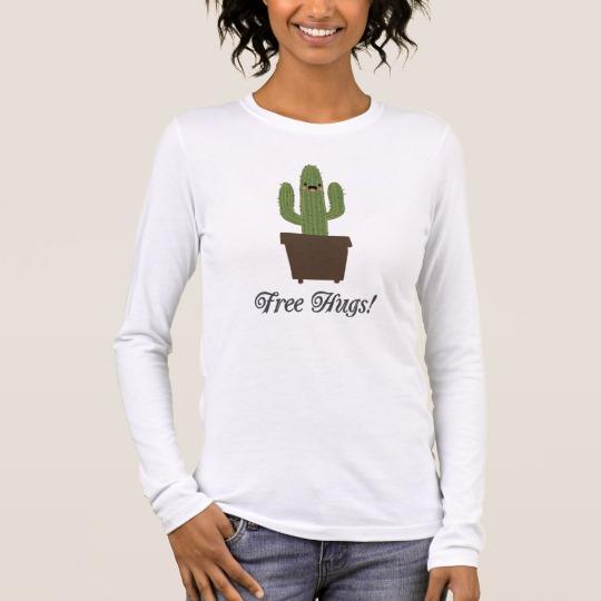 Cactus Offering Free Hugs Women's Bella+Canvas Long Sleeve T-Shirt