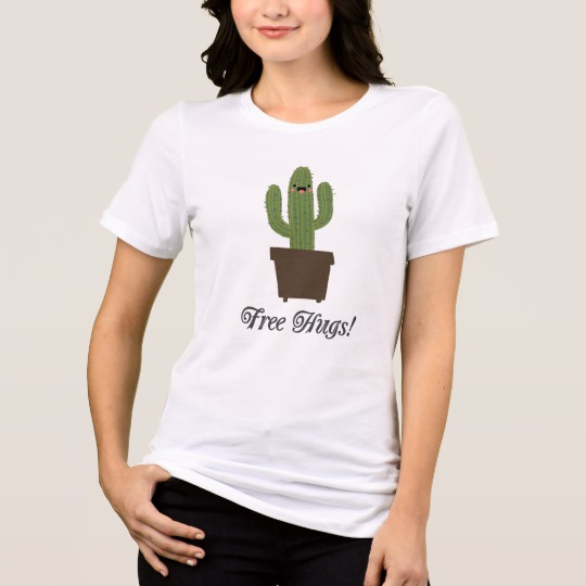 Cactus Offering Free Hugs Women's Bella+Canvas Relaxed Fit Jersey T-Shirt