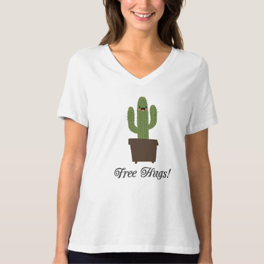 Cactus Offering Free Hugs Women's Bella+Canvas Relaxed Fit V-Neck T-Shirt