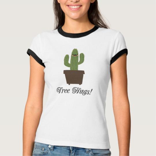 Cactus Offering Free Hugs Women's Bella+Canvas Ringer T-Shirt