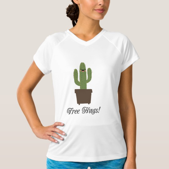 Cactus Offering Free Hugs Women's Champion Double-Dry V-Neck T-Shirt
