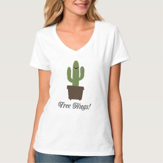 Cactus Offering Free Hugs Women's Hanes Nano V-Neck T-Shirt