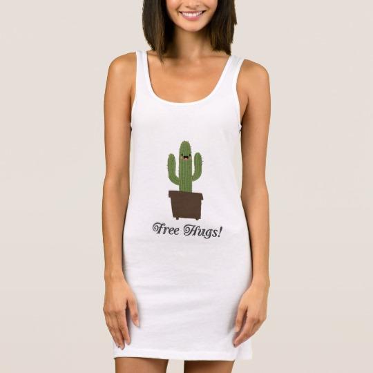 Cactus Offering Free Hugs Women's Jersey Tank Dress