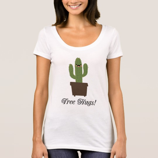 Cactus Offering Free Hugs Women's Next Level Scoop Neck T-Shirt