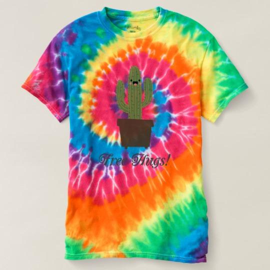 Cactus offering free hugs women 39 s spiral tie dye t shirt for Types of tie dye shirts