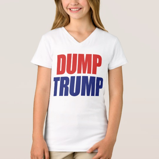 Dump Trump Girls' Fine Jersey V-Neck T-Shirt