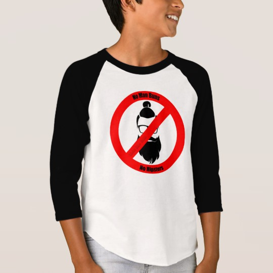 No Man Buns No Hipsters Boys' American Apparel 3/4 Sleeve Raglan T-Shirt