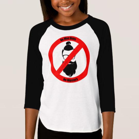 No Man Buns No Hipsters Girls' American Apparel 3/4 Sleeve Raglan T-Shirt
