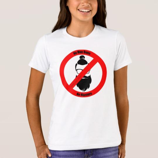 No Man Buns No Hipsters Girls' Bella+Canvas Crew T-Shirt