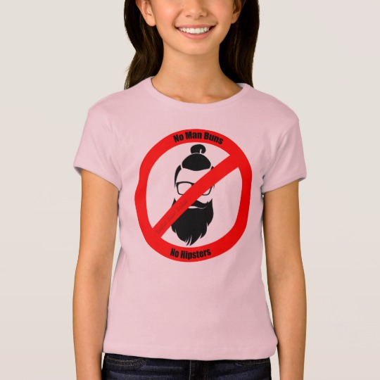 No Man Buns No Hipsters Girls' Bella+Canvas Fitted Babydoll T-Shirt