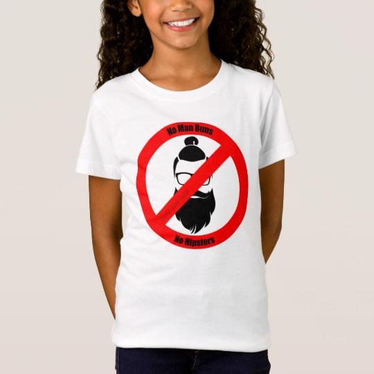 No Man Buns No Hipsters Girls' Fine Jersey T-Shirt