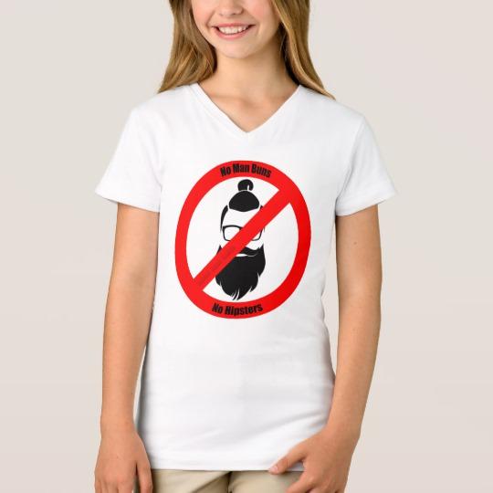 No Man Buns No Hipsters Girls' Fine Jersey V-Neck T-Shirt