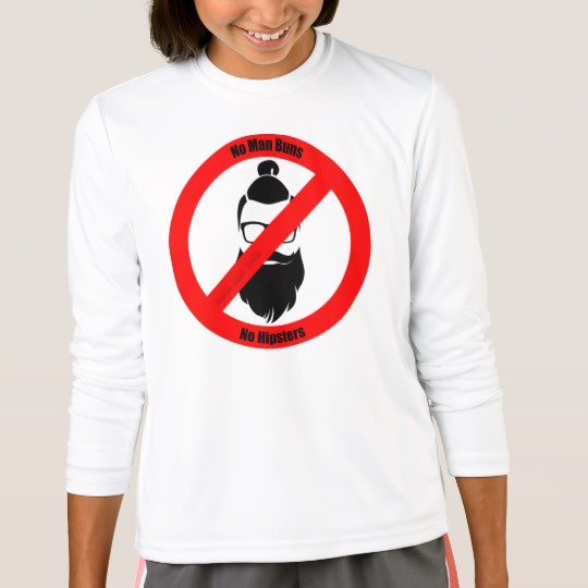 No Man Buns No Hipsters Girls' Sport-Tek Competitor Long Sleeve T-Shirt