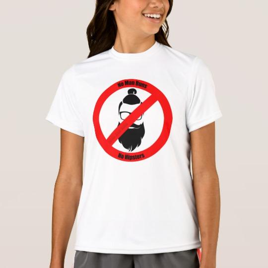 No Man Buns No Hipsters Girls' Sport-Tek Competitor T-Shirt