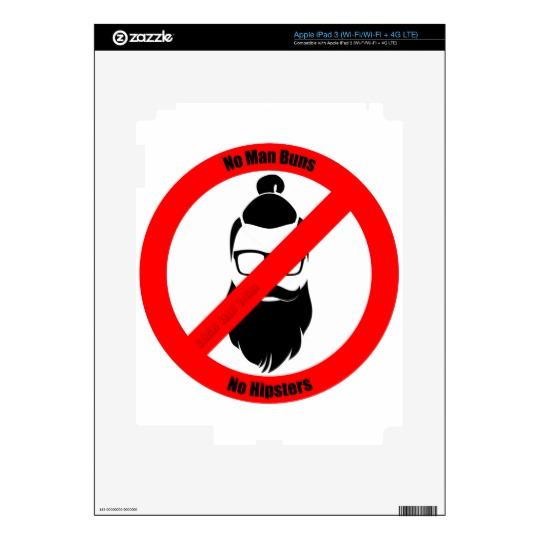 No Man Buns No Hipsters iPad 3 Decals