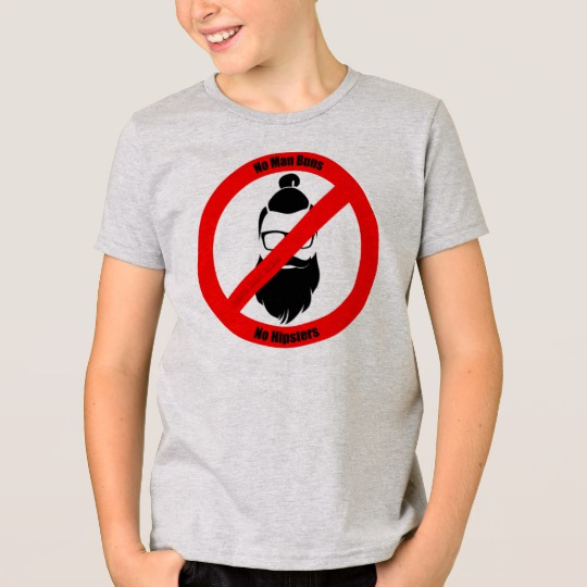 No Man Buns No Hipsters Kids' American Apparel Fine Jersey T-Shirt