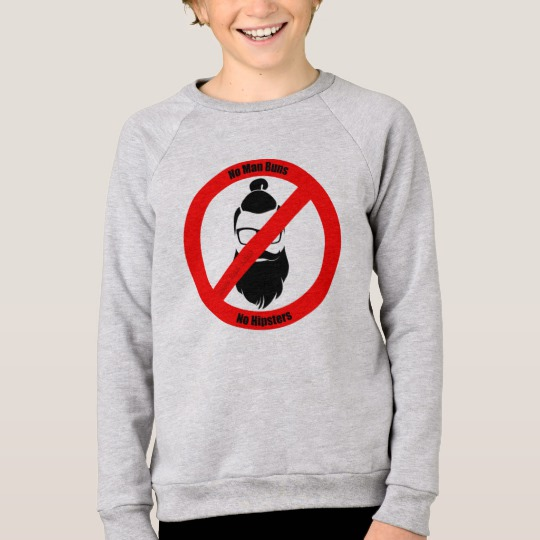 No Man Buns No Hipsters Kids' American Apparel Raglan Sweatshirt