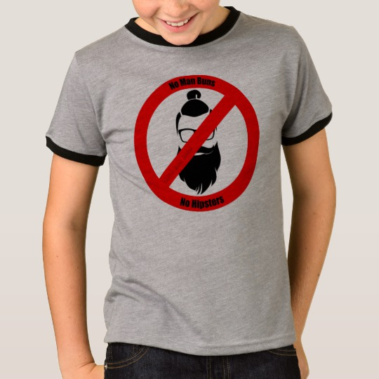 No Man Buns No Hipsters Kids' Basic Ringer T-Shirt