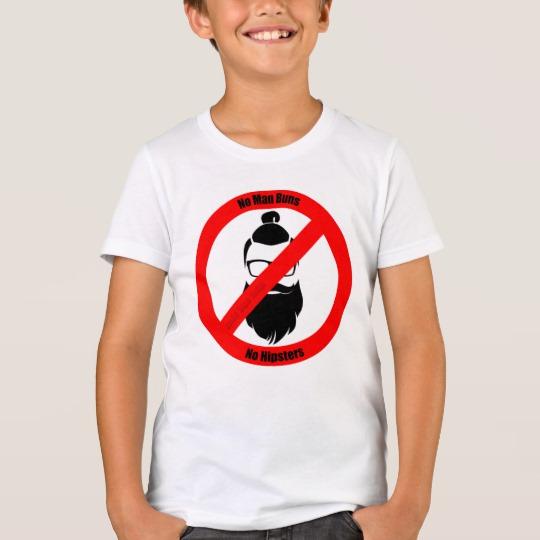 No Man Buns No Hipsters Kids' Bella+Canvas Crew T-Shirt