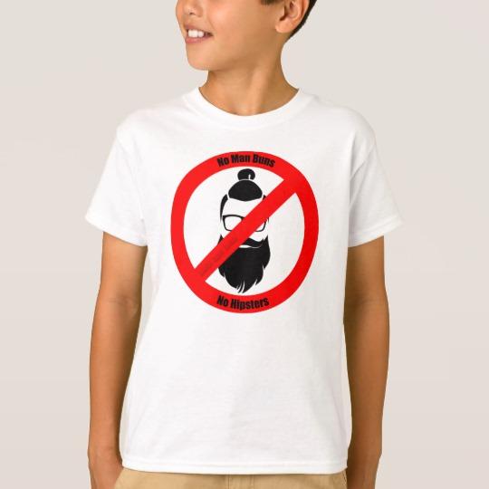 No Man Buns No Hipsters Kids' Hanes TAGLESS® T-Shirt