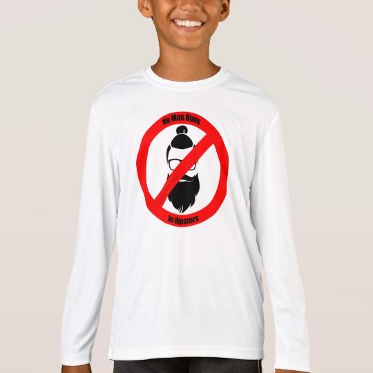 No Man Buns No Hipsters Kids' Sport-Tek Competitor Long Sleeve T-Shirt