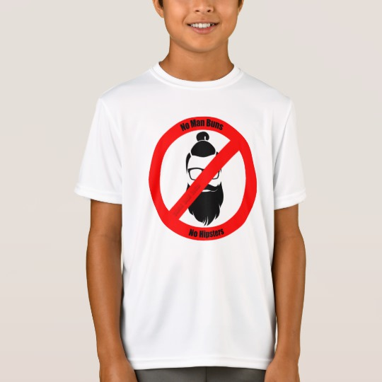 No Man Buns No Hipsters Kids' Sport-Tek Competitor T-Shirt