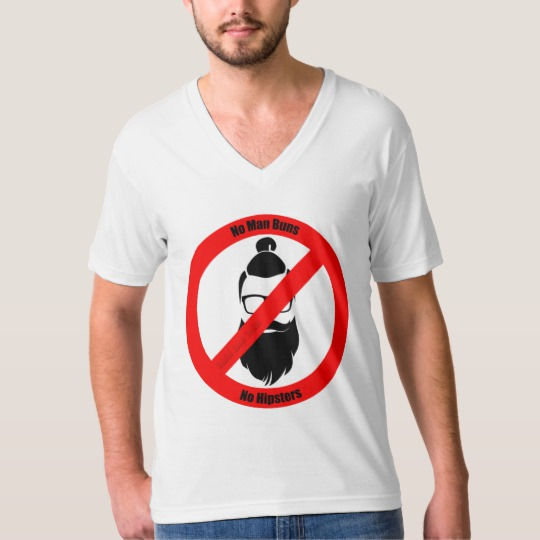 No Man Buns No Hipsters Men's American Apparel Fine Jersey V-neck T-Shirt