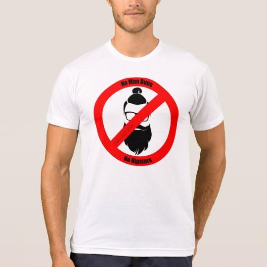 No Man Buns No Hipsters Men's American Apparel Poly-Cotton Blend T-Shirt