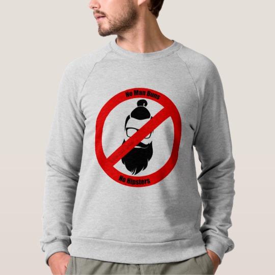 No Man Buns No Hipsters Men's American Apparel Raglan Sweatshirt