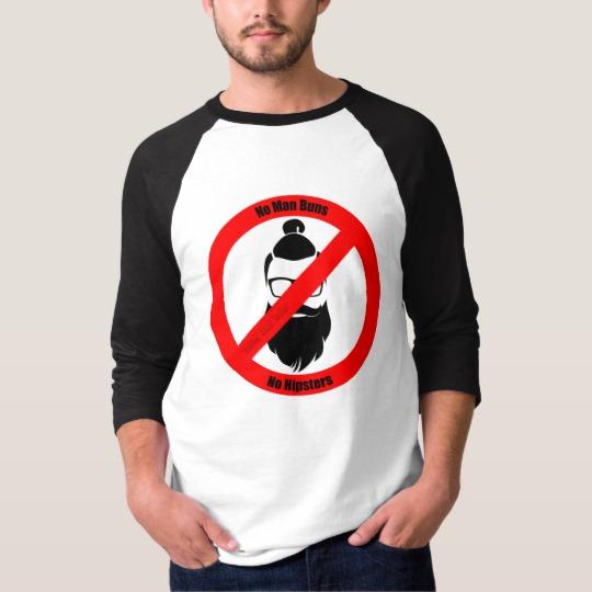 No Man Buns No Hipsters Men's Basic 3/4 Sleeve Raglan T-Shirt