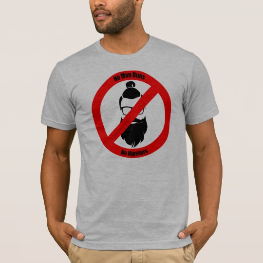 No Man Buns No Hipsters Men's Basic American Apparel T-Shirt