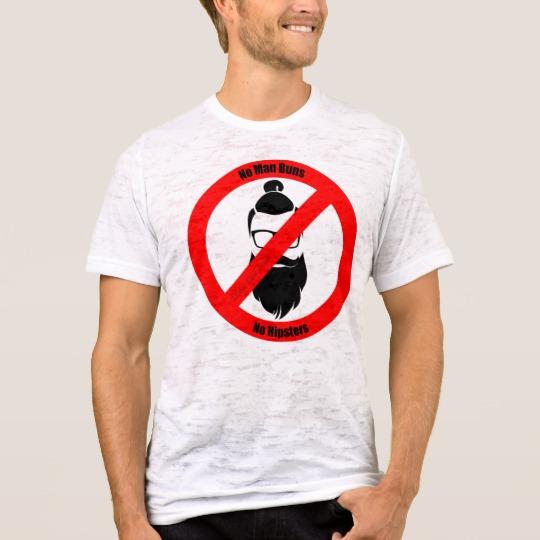 No Man Buns No Hipsters Men's Canvas Fitted Burnout T-Shirt