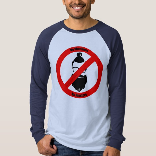 No Man Buns No Hipsters Men's Canvas Long Sleeve Raglan T-Shirt