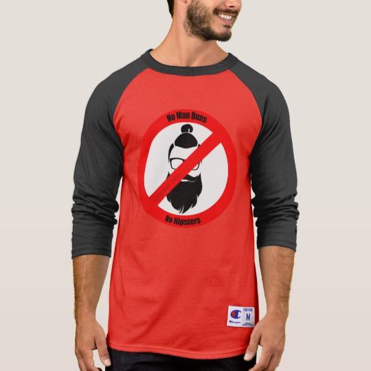 No Man Buns No Hipsters Men's Champion 3/4 Sleeve Raglan T-Shirt