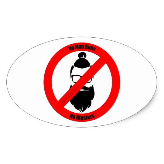 No Man Buns No Hipsters Oval Stickers