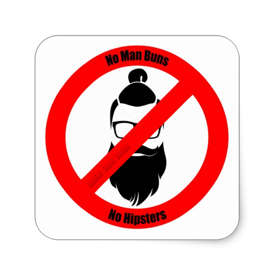 No Man Buns No Hipsters Square Paper Coaster