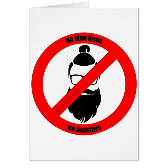 "No Man Buns No Hipsters Standard 5"" x 7"" Card"