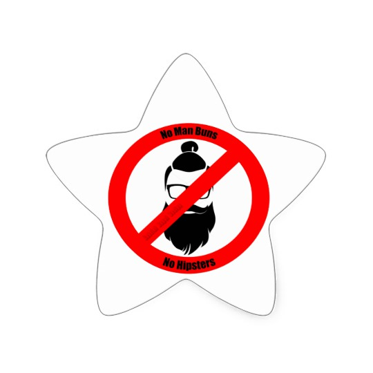 No Man Buns No Hipsters Star Sticker