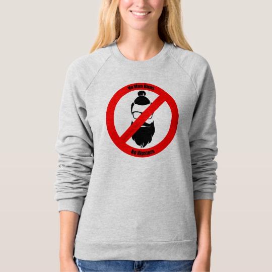 No Man Buns No Hipsters Women's American Apparel Raglan Sweatshirt
