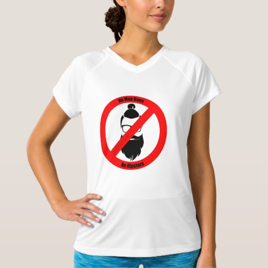 No Man Buns No Hipsters Women's Champion Double-Dry V-Neck T-Shirt