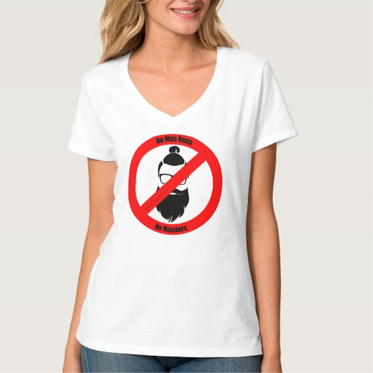 No Man Buns No Hipsters Women's Hanes Nano V-Neck T-Shirt