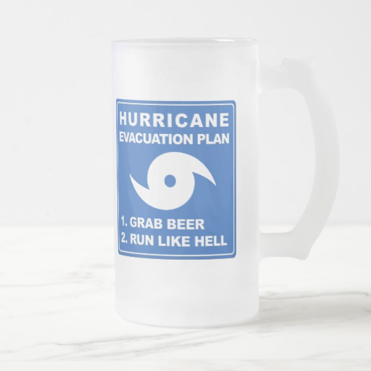 Hurricane Evacuation Plan Parody Frosted Glass Mug