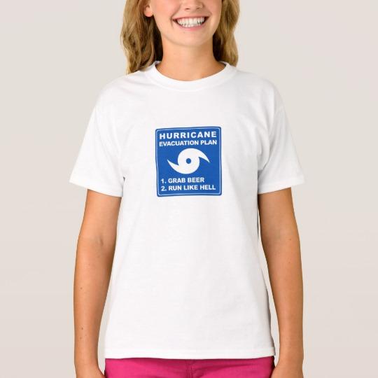 Hurricane Evacuation Plan Parody Girls' Hanes TAGLESS® T-Shirt