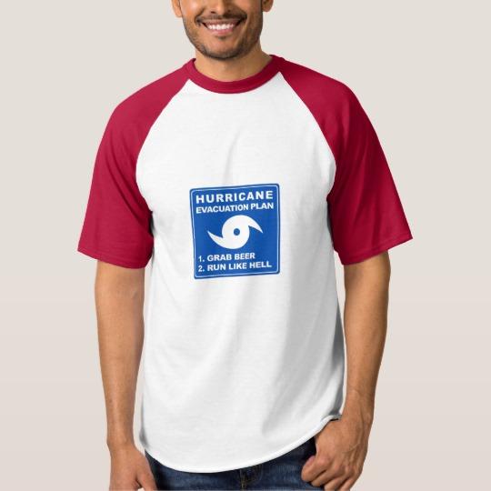 Hurricane Evacuation Plan Parody Men's Raglan Baseball T-Shirt